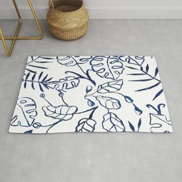 Tropical Plant Boho Chinoiserie Blue and White Rug