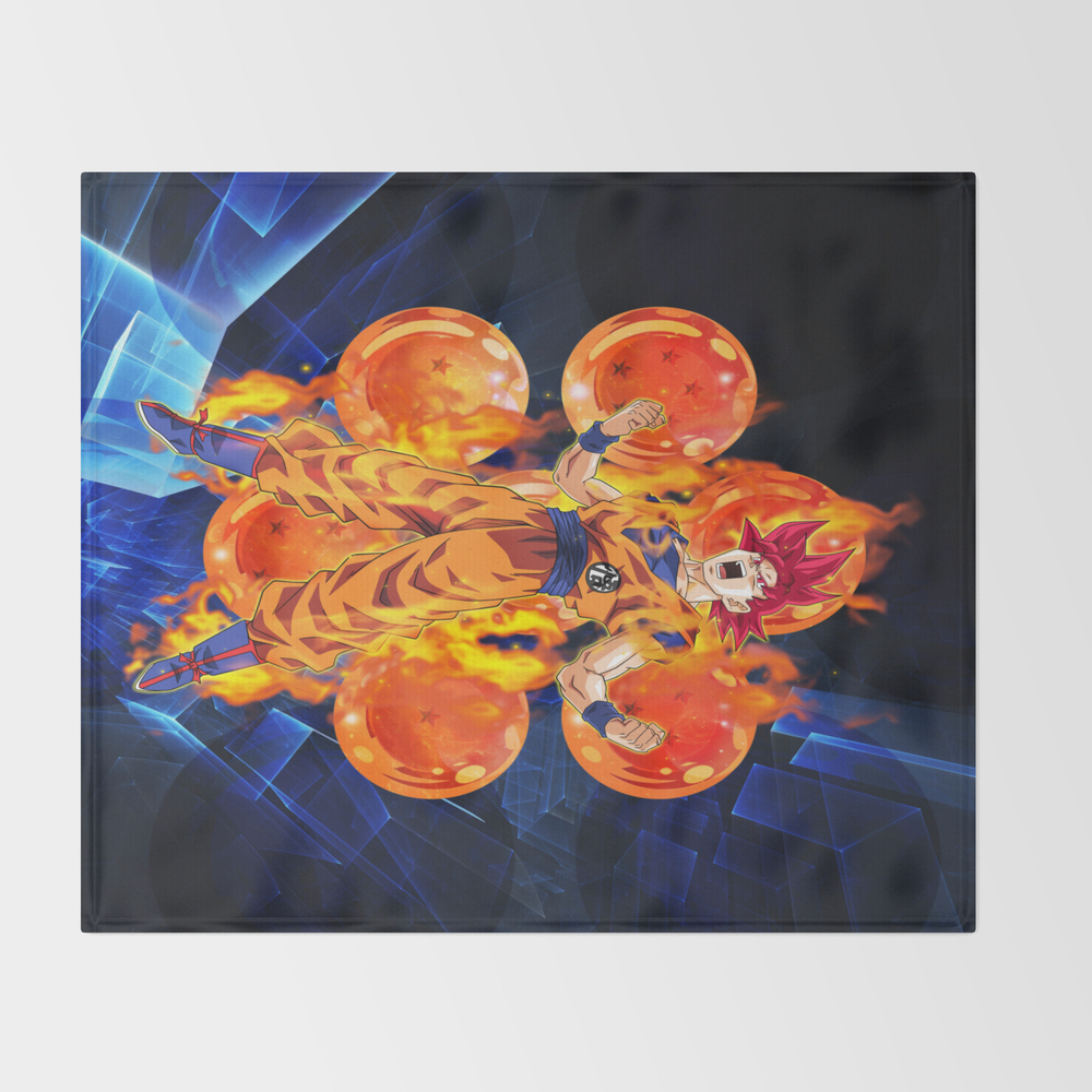 Dragon Ball Super Goku Super Saiyan God Throw Blanket BLK6524797