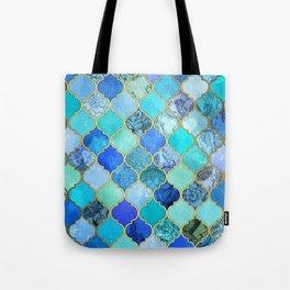 Cobalt Blue, Aqua & Gold Decorative Moroccan Tile Pattern Tote Bag