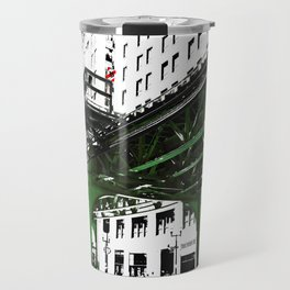 Chicago photography - Chicago EL art print in green black and white Travel Mug