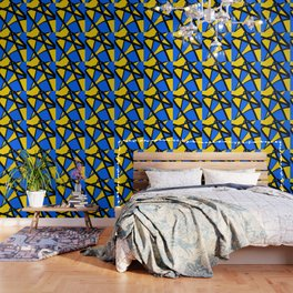 Yellow and Blue Triangles Abstract Wallpaper