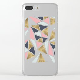 Modern geometrical pink navy blue gold triangles pattern Clear iPhone Case