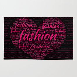 Fashion Word Art in Bright Pink in Heart shape Rug