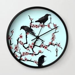 Ravens on cherry tree Wall Clock