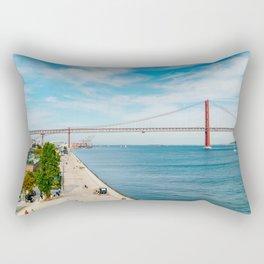 25 de Abril Bridge In Lisbon, Wall Art Print, Modern Architecture Art, Poster Decor, Large Printable Rectangular Pillow