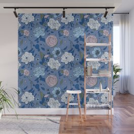 Lovely Seamless Floral Pattern With Subtle Poodles (Hand Drawn) Wall Mural