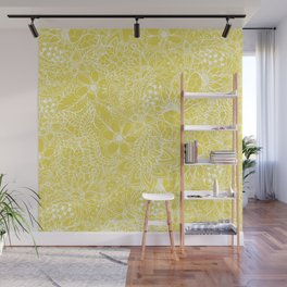 Modern trendy white floral lace hand drawn pattern on meadowlark yellow Wall Mural
