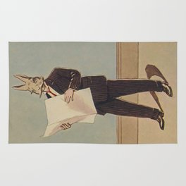 Deacon Bunny Illustration by Culmer Barnes in The Bunnys at Home In A Suit - 1915 Rug