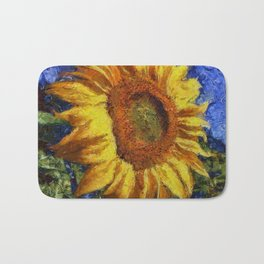 Sunflower In Van Gogh Style Bath Mat