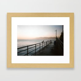 The Santa Monica Pier at Sunrise Framed Art Print