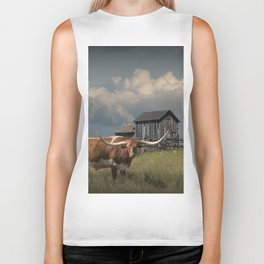 Longhorn Steer in a Prairie pasture by 1880 Town with Windmill and Old Gray Wooden Barn Biker Tank