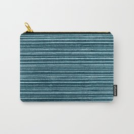 Teal watercolor brushstrokes geometrical stripes Carry-All Pouch