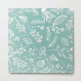 Mint floral Metal Print