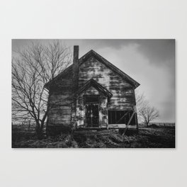 School's Out - Abandoned Schoolhouse in Iowa in Black and White Canvas Print