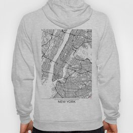 New York City Neutral Map Art Print Hoody