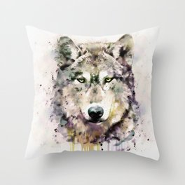 Wolf Head Watercolor Portrait Throw Pillow