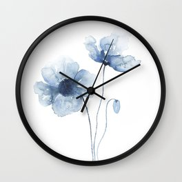 Blue Watercolor Poppies Wall Clock