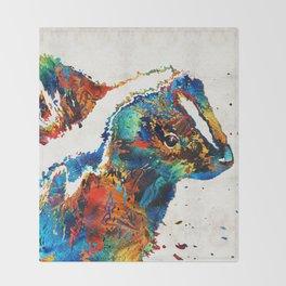 Colorful Skunk Art - Dee Stinktive - By Sharon Cummings Throw Blanket