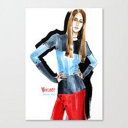 Fashion #16. Long-haired girl in fashionable dress-transformer Canvas Print