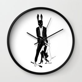Mr Bunny and Catpurrrs lady Wall Clock