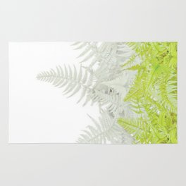 PALE GREEN & GREY ABSTRACT WOODLAND FERNS ART Rug