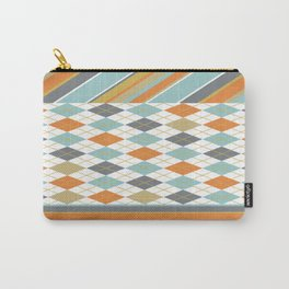 Retro 1980s Argyle and Stripes Geometric Carry-All Pouch