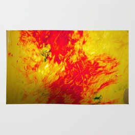 Orange, Yellow, and Blue Finger Painting Rug