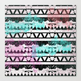 Black and White Aztec Pattern Canvas Print