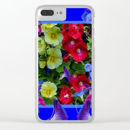 HOLLYHOCKS & MORNING GLORIES COTTAGE BLUE ART Clear iPhone Case