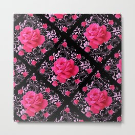 FUCHSIA PINK ROSE BLACK BROCADE GARDEN ART Metal Print