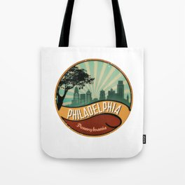 Philadelphia City Skyline Pennsylvania Retro Vintage Design Tote Bag