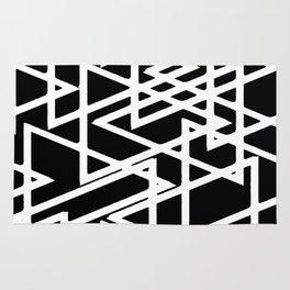 Interlocking White Triangles Artistic Design Rug