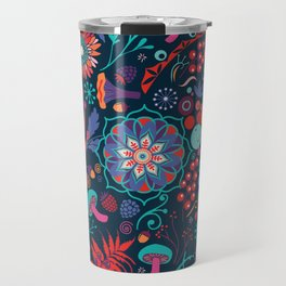 Ripe autumn – cyan and red Travel Mug