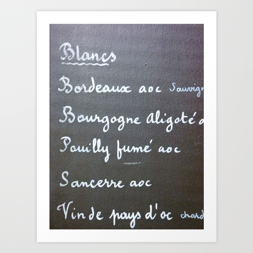 Carte De Vins Blancs Art Print by Susaninparis PRN866178