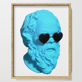 Socrates wearing heart shaped sunglasses and being blue Serving Tray