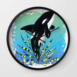 Cute Orca Whale Doodle Ink Teal Pattern Wall Clock