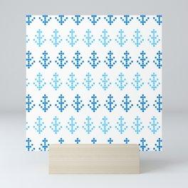 Watercolor Blue Pixel Trees Mini Art Print