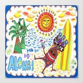 Mid Century Modern Hawaiian Tiki Toast blue border Canvas Print
