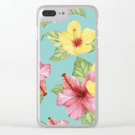 Tropical Hawaiian Hibiscus Floral Print Clear iPhone Case