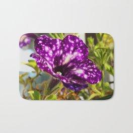Unic ultra violet petunia flower night sky Bath Mat