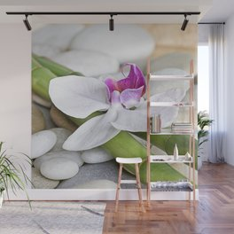white Orchid flower  and green Bamboo still life Wall Mural
