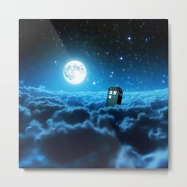 Tardis Cloud And Moon Metal Print