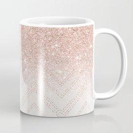 Modern faux rose gold glitter ombre modern chevron stitches pattern Coffee Mug
