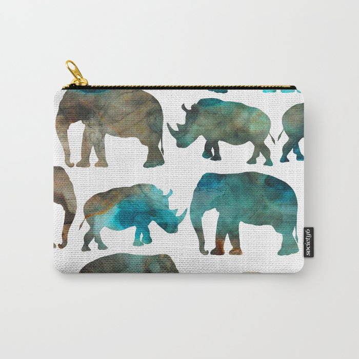 watercolor Rhino Elephant Carry-All Pouch