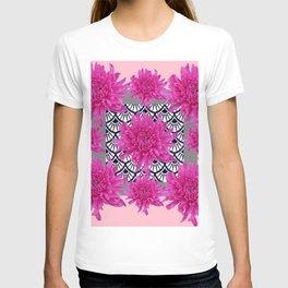 GREY ART DECO FUCHSIA CHRYSANTHEMUM FLORAL T-shirt