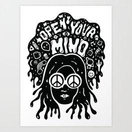 Open Your Mind in black Art Print