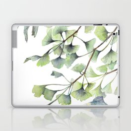 Mint Green Ginkgo Leaves and Green Goldfish Watercolor Design Laptop & iPad Skin