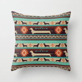 Boho dogs | Smooth Dachshund sunset Throw Pillow