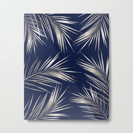 White Gold Palm Leaves on Navy Blue Metal Print