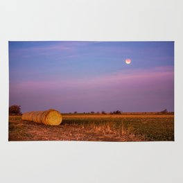 Hay Bales Under the Super Blue Blood Moon in Oklahoma Rug